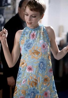 "Mia Farrow in a beaded and sequined mini by Pierre Cardin for the film ""A Dandy in Aspic"", photo by Bill Epperidge, May 1967"
