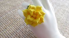 Adjustable Yellow Cold Porcelain Floral Ring by doughroses on Etsy