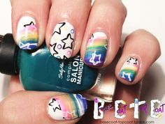 Rainbow and Stars Manicure by BaseCoat TopCoat