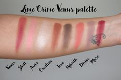 lime crime venus palette swatch review makeup looks