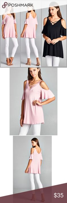 Flutter Sleeve Tunic Top Open shoulder Tunic with flutter sleeves. V Neck line and back line. Made of rayon jersey and spandex. Colors pink or black. Threads & Trends Tops