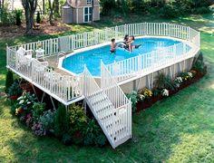 Rectangular Above Ground Pools Decks : Outdoor Improvement Ideas ...
