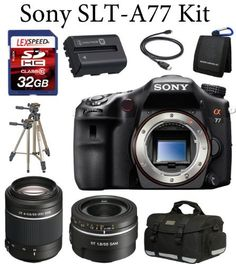Sony A77 24.3 MP Translucent Mirror Digital SLR SAL 50mm F1.8 SAM Lens + SA 55-200mm + Deluxe Camera Case + Spare NPFM500H Battery Pack + 32GB Deluxe Kit + Tripod + Filters by Sony. Save 20 Off!. $1598.00. The Sony SLT-A77 Bundle Includes 1. Sony SLT-A77 Digital SLR Camera.  2. Sony SAL-50F18 50mm f/1.8 DT AF Lens. 3. Sony SAL55200/2 DSLR DT 55-200mm F4-5.6 SAM Lens 4. LexSpeed 32GB Class 10 Memory card.  5. Deluxe Camera Bag. 6. Spare NP-FM500H Li-Ion Battery. 7. Sunpak All In One Card...