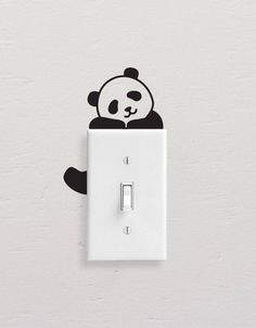 Panda Wall Decals, Panda Light Switch Decal, Simple Panda Vinyl Wall Decal, Panda Stickers, Light Switch Sticker – Willkommen in meiner Welt Simple Wall Paintings, Creative Wall Painting, Wall Painting Decor, Diy Wall Art, Diy Wall Decor, Vinyl Wall Decals, Wall Stickers, Sticker Vinyl, Wall Design