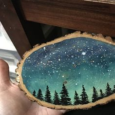 These ornaments are perfect for your nature loving friend or family member (or yourself! There are 27 ornaments listed. Christmas Crafts, Christmas Decorations, Christmas Ornaments, Painted Rocks, Hand Painted, Painted Wood, Wood Crafts, Diy And Crafts, Galaxy Painting