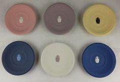 6-Wedgwood-Jasperware-Butter-Pats-Asst-Rare-Colors-Butan-Museum-Stamps