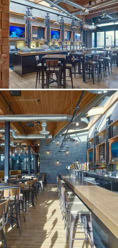 This brew pub bar features pipe-style taps and is brightened by a skylight directly above it.