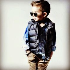 Little boy fashion LOVE this pic. Shows what you can do with lots of LAYERS! Try it out - LAYER up with fun PUFFER VESTS and you will see just how fab it looks!
