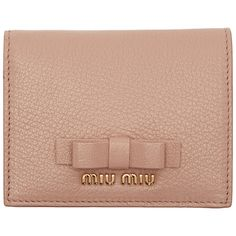 a215b1926c6 Miu Miu Pink Bow French Wallet (385 CAD) ❤ liked on Polyvore featuring bags,  wallets, bi fold leather wallet, snap coin purse, leather wallets, ...