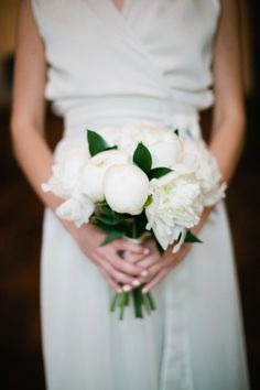 photo by pam cooley | snippet & ink / minimalist wedding dress / white peonies