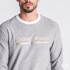 Highlight on the new Iconic Gray Sweater 🔥 Available in all sizes at rooneroman.com Roman Man, Gray Sweater, Urban Fashion, Soft Fabrics, Highlight, Contrast, Graphic Sweatshirt, Product Description, Sweatshirts