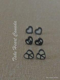 Tiny Black Heart Earrings