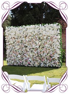 Vintage coloured silk flower pew decoration for hire in melbourne melbourne flower wall in ivory and pastel tones flower wall hire melbourne mightylinksfo