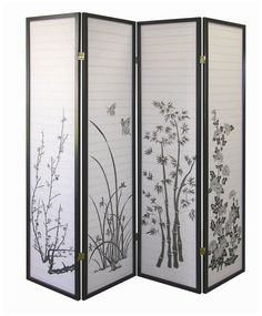Ore International Black 4-Panel Bamboo Floral Room Divider Screen | Free Shipping
