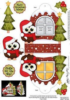 3D Hoot Owl Xmas Window Treat Holder Christmas Decoration on Craftsuprint designed by Carol Clarke  ...