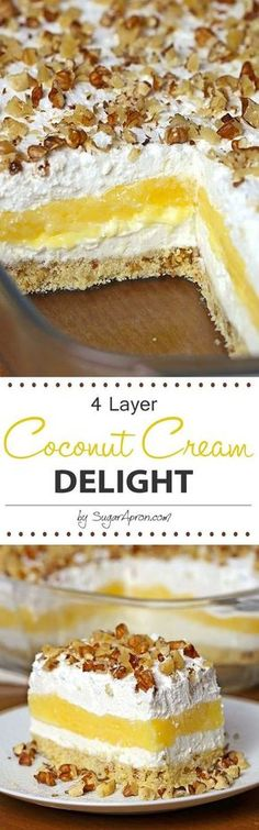 Cream Delight Coconut Cream Delight - It's just one of those desserts that stays with you!Coconut Cream Delight - It's just one of those desserts that stays with you! 13 Desserts, Coconut Desserts, Layered Desserts, Pudding Desserts, Coconut Recipes, Delicious Desserts, Vegan Recipes, Sweet Recipes, Cake Recipes