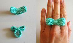 ...  ► laço de crochê/arco crochet anel / Anel de Mono/ ▼         Website  : artesanatoed          .....