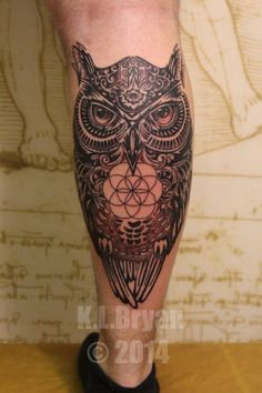 Owl tattoo with hamza and sacred geometry by danktat on DeviantArt