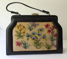 FABRIQUE Vintage PURSE Needlepoint Handbag Bag Black Tapestry Shoulder Floral #Fabrique #Purse #Everyday