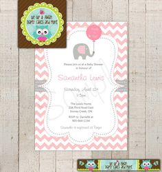 Baby Shower Invitation--Baby Elephant, Ready to Pop--Modern--Pink Chevron--Grey--Printable Invite on Etsy, $13.18