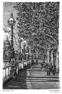 Riverside walk on the Southbank - drawings and paintings by Stephen Wiltshire MBE. This is a beautiful drawing. There is so much detail and thought in it. You can't take your eyes of it as there is so much to see and explore. I like how different amounts of shading has been added and the fine, bold, structured lines have been used. The piece looks realistic and stands out. However i feel little colour could be added to create more of an atmosphere.