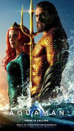 has released a new theatrical poster for Aquaman, and this one puts the spotlight on the titular hero (Jason Momoa) and Mera (Amber Heard) suited up in their classic comic book duds. Aquaman Film, Aquaman 2018, Jason Momoa Aquaman, 2018 Movies, New Movies, Movies Online, Good Movies, Watch Movies, Dc Comics