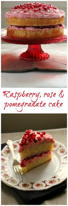 Tart raspberries, juicy pomegranate and a hint of rose transform a simple vanilla sponge into a show stopping layer cake. Delicious Cake Recipes, Yummy Cakes, Yummy Food, Cake Tins, Cake Plates, Layered Desserts, Baking Recipes, Sweets Recipes, Cake Decorating Techniques