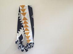 Headband Ikat and Triangles Reversible Headband Cotton by KYEbags