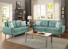 Deryn 2PCs Classic Mid-Century Tufted Teal Fabric Sofa Loveseat Set