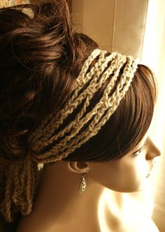 Crochet Mesh Headband and Neck Wrap