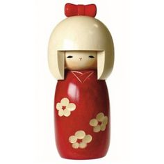 Cutie red and white Kokeshi doll