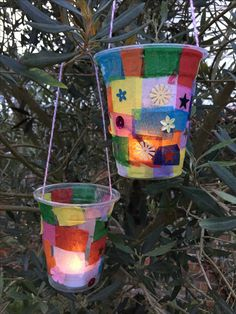 Lovely lantern - use a plastic cup, decorate with tissue paper and sequins. Hang with wool thread and light with electric tea candle. They look great!