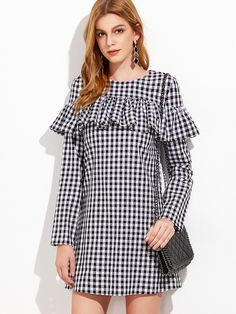 Online shopping for Black And White Gingham Ruffle Dress from a great selection of women's fashion clothing & more at MakeMeChic.COM.