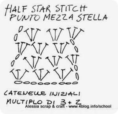 Crochet Half Star Stitch - Chart