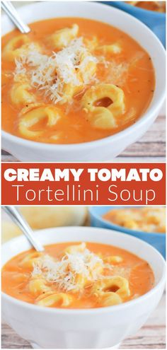 Creamy Tomato Tortellini Soup - quick and easy soup recipe! Creamy tomato soup with cheese tortellini. My kids love this! Vegetable Soup Healthy, Vegetarian Soup, Tomato Tortellini Soup, Tomato Soup, Best Soup Recipes, Favorite Recipes, Potato Cheese Soups, Quick And Easy Soup, Curry Soup