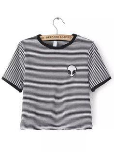 e13fef83 Black White Crew Neck Striped Alien Print Crop T-Shirt Crop Top Shirts, Crop
