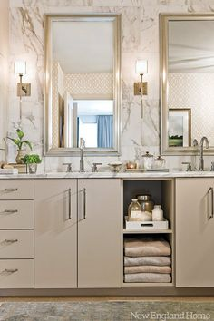 Den color light gray vanity with double sinks - bathroom