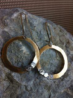 Bronze & Sterling Silver Earrings by RollingStonesJewelry on Etsy