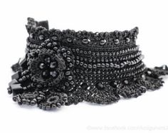 Black Color Crochet Bracelet Cuff. Beaded Crochet Bracelet. Freeform Crochet Bracelet Cuff. MADE TO ORDER