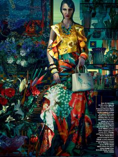 Waleska Gorczevski by Zee Nunes for Vogue Brazil November 2013, mixed patterns, patterned textiles