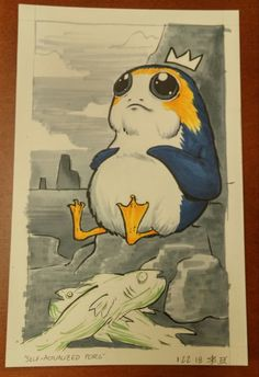 """A friend of mine saw a drawing of a porg in distress and and was so upset that they demanded I draw a porg """"self-actualizing and living their best life"""" to help calm them down."""