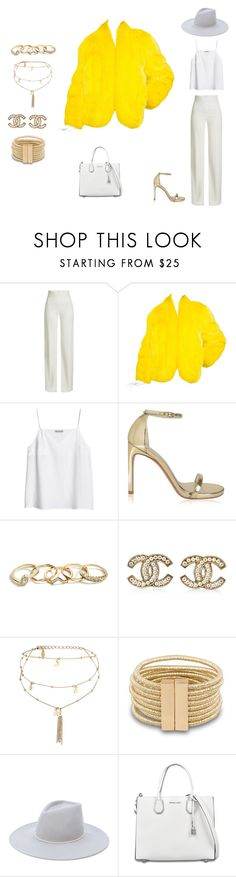 """""""yellow day"""" by thatrecklessthing ❤ liked on Polyvore featuring Brandon Maxwell, Saga Furs, Stuart Weitzman, GUESS, Chanel, Ettika, Eugenia Kim and MICHAEL Michael Kors"""
