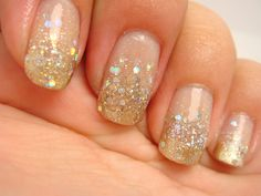 Glitter gradient nails: start with a clear coat / or a pastel pink as the base coat. Then apply a metallic / shimmer gold (only from the middle of the nail to the tip). After that layer dries, apply a layer of large sparkle glitter (the bigger the chunks, the better) from the middle of the nail to the tip. Let dry, apply a top coat for extra shine!