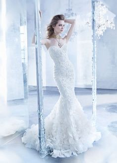 Ivory vintage beaded and embroidered net trumpet bridal gown, strapless sweetheart neckline, floral organza layered skirt, chapel train. Bridal Gowns, Wedding Dresses by Lazaro - Style Lazaro Wedding Dress, Lazaro Bridal, Wedding Dresses 2014, Wedding Dress Styles, Bridal Dresses, Most Beautiful Wedding Dresses, Gorgeous Dress, Mod Wedding, Lace Wedding
