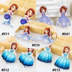 50 Pieces Mixed 5 Designs Cartoon Princess Sofia Resin Flatback Kawaii DIY Planar Resine Craft for Home Decoration Accessories