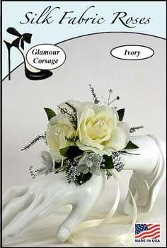 Ivory Silk Rose Glamour Wrist Corsage by corsagestudio on Etsy, $17.50