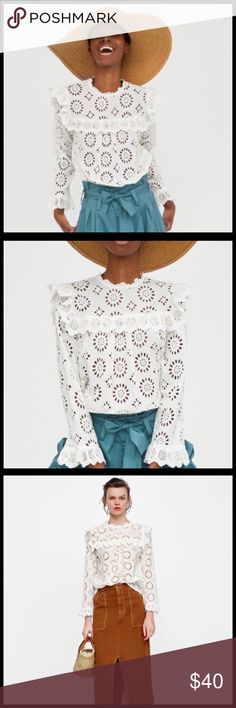 🆕 {Zara} Die Cut Embroidered Blouse 💕BLOGGER FAVORITE💕 Zara Woman die cut eyelet top. High collar blouse with long sleeves and elastic ruffled cuffs. Ruffled trims on the shoulders and front. Fastens in the back with a buttoned keyhole opening. Labelled as size Small. BRAND NEW WITH TAG! Zara Tops Blouses