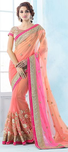 Orange, Pink and Majenta color family Embroidered Sarees, Party Wear Sarees with matching unstitched blouse.