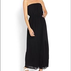 Chiffon strapless maxi dress Adorable dress for spring or summer time! Basic black strapless chiffon maxi dress. Never worn! Forever 21 Dresses Maxi