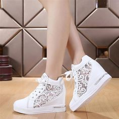 High Fashion cutouts lace white wedges shoes hollow floral print breathable platform women casual mesh shoes zapatos mujer From Touchy Style Outfit Accessories. White Wedge Shoes, White Wedges, White Casual Shoes, Brown Wedges, Womens Fashion Sneakers, Fashion Shoes, High Fashion, Teenager Fashion Trends, Black Running Shoes